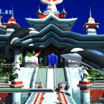 Modern Sonic soars through the air towards a Pagoda