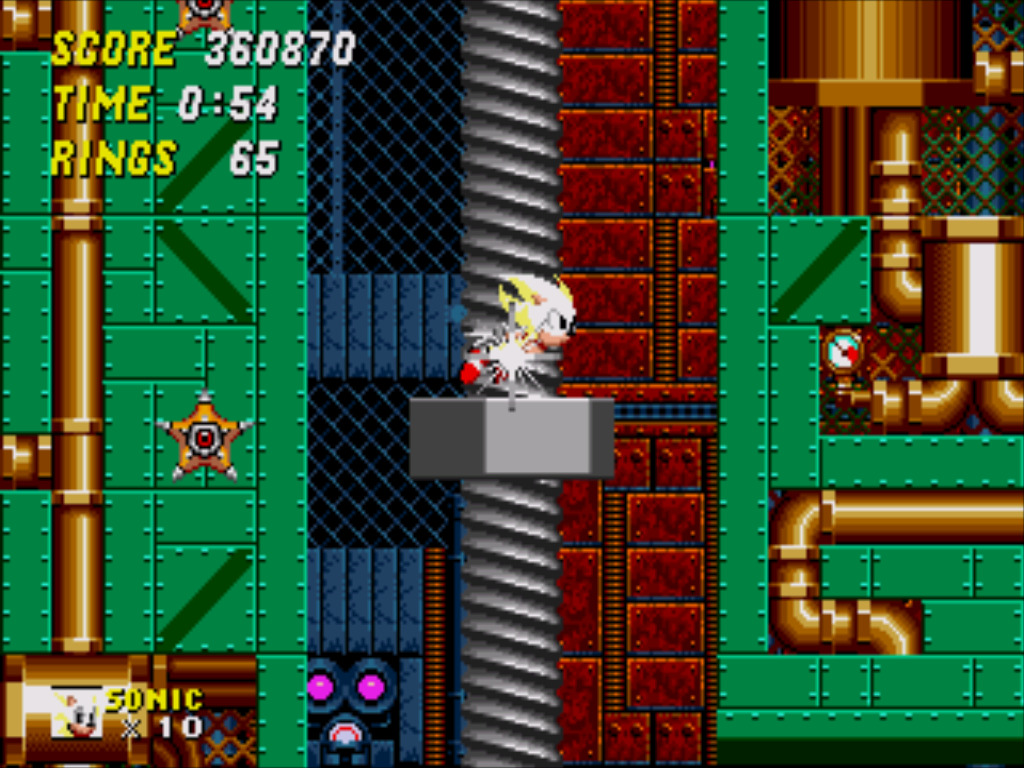 Super Sonic Glides up a screw in the Metropolis Zone