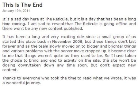 The close down message from January 2011