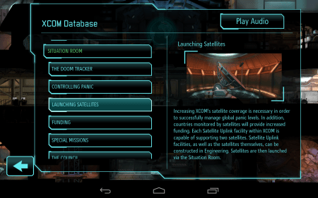 The in-game database, sleekly presented provides useful background info.