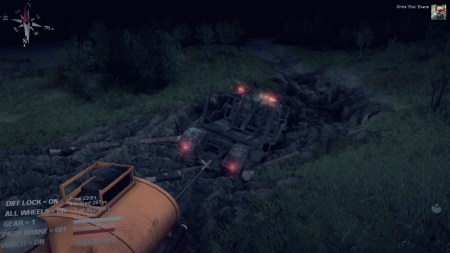 At one point in the night, the logs fell off their trailer.