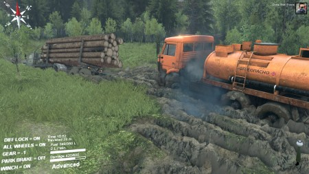 There was a hearty fuel-tanker near the logging camp. I took control and initially made a botched effort at dragging my main truck out of the mud.