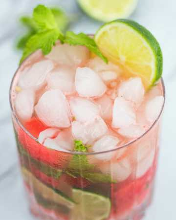 Watermelon Mojito with fresh watermelon, lime and mint.