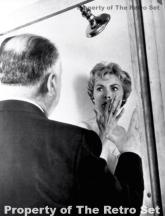 Alfred Hitchcock directs Janet Leigh in the shower scene from PSYCHO (1960). Credit: Universal Pictures
