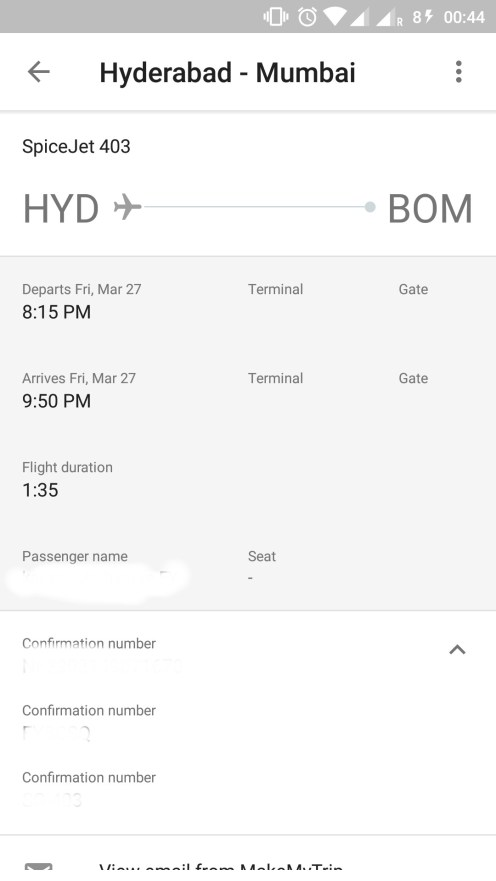 Screen 2 of Reservation Tab with Ticket Details
