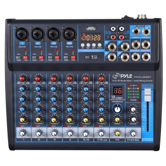 Pyle Professional Audio Mixer Sound Board Console Desk System Interface 8 Channel DJ and studio console mixer
