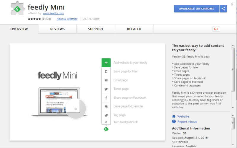 Feedly Mini chrome extensions