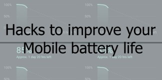 Hacks for Mobile battery life