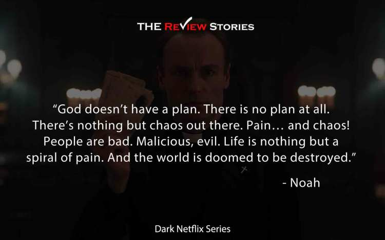 God doesn't have a plan. There is no plan at all. There's nothing but chaos out there. Pain… and chaos! People are bad. Malicious, evil. Life is nothing but a spiral of pain. And the world is doomed to be destroyed.