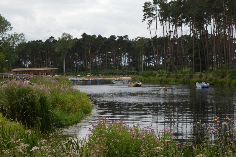 Lake and beach at Center Parcs Woburn Forest
