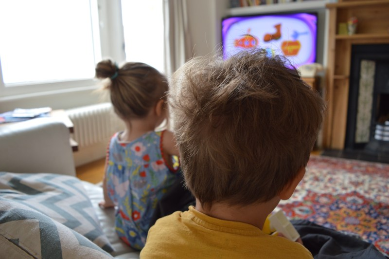 Children watching DisneyLife on TV