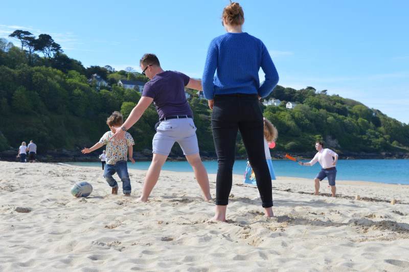 Playing on Carbis Bay beach, Cornwall