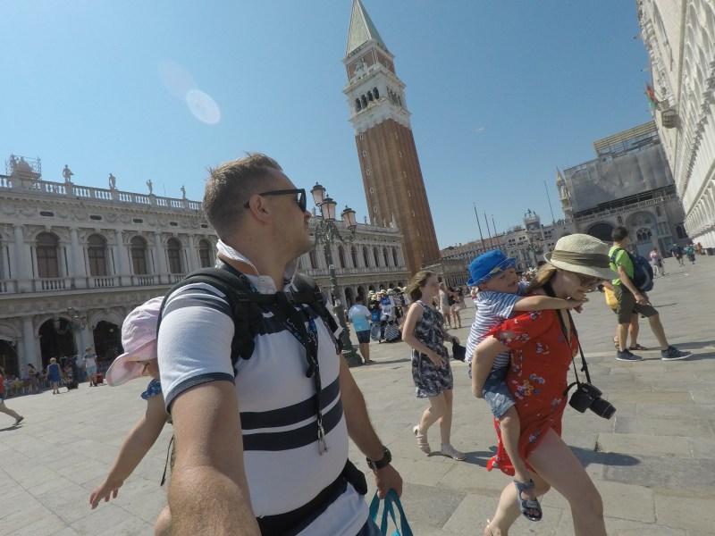 Family in St Mar's Square Venice