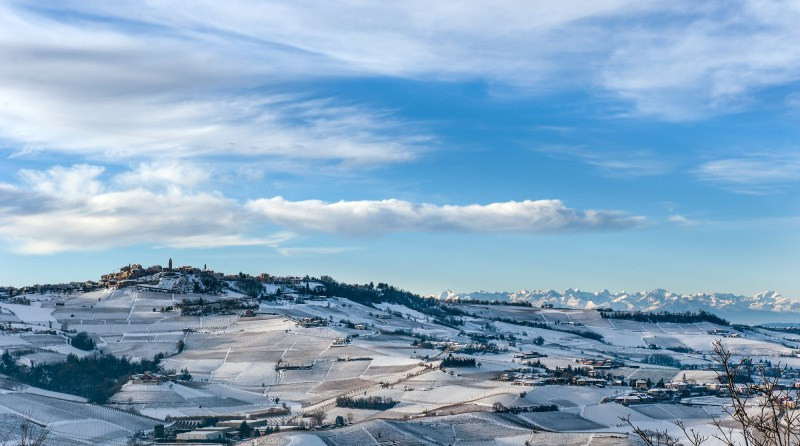 The Langhe and Roero region in snow