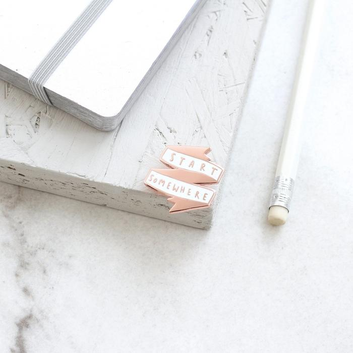 start somewhere rose gold enamel pin