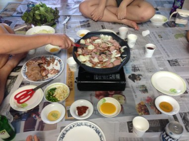 Korean-style BBQ duck with onions with my host family