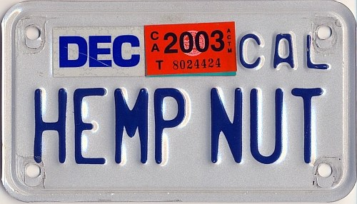 California HempNut moto plate