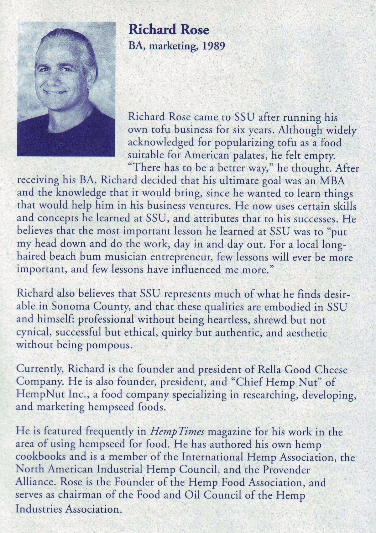 Distinguished Alumni, Sonoma State University, 2000