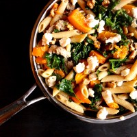 Kale, Butternut Squash, Turkey, and Goat Cheese Pasta