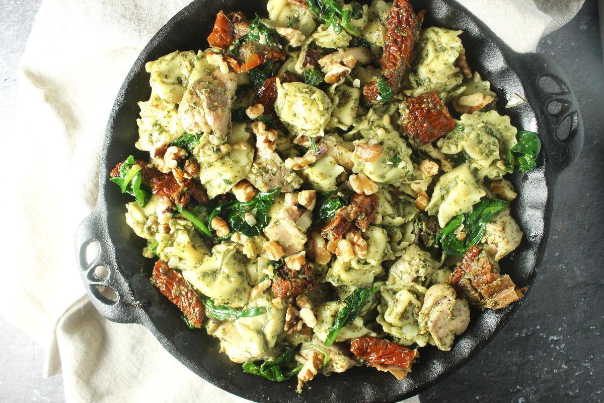 One Pot Basil Pesto Chicken Tortellini