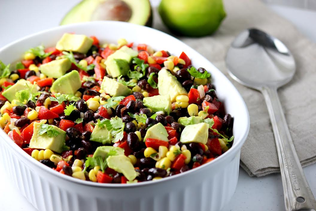 Black Bean Salad with Corn, Red Peppers, and Avocado in a Lime-Cilantro Vinaigrette
