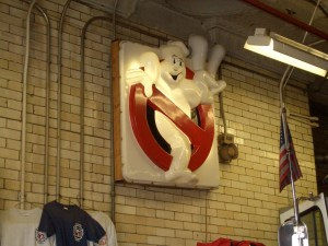 The sign from GHOSTBUSTERS 2 on display in NYC's Hook & Ladder 8