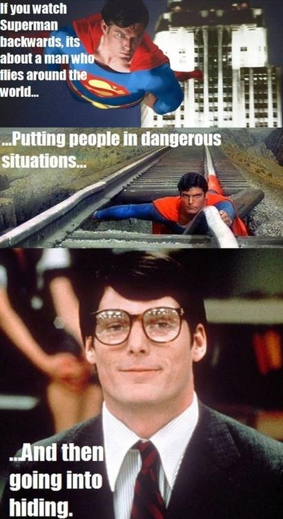Superman, as told in reverse