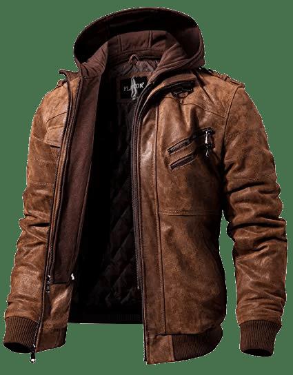 FLAVOR Men Brown Leather Motorcycle Jacket