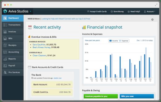 Wave Apps Dashboard Screenshot