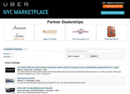 Uber NYC Marketplace For Fleet Owners