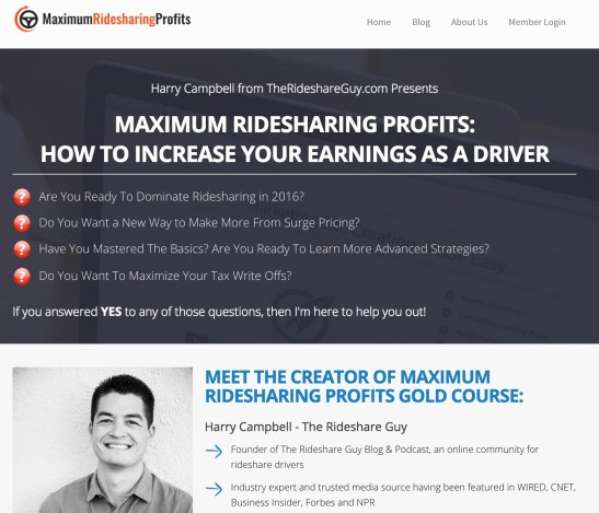 Maximum Ridesharing Profits Video Training Course