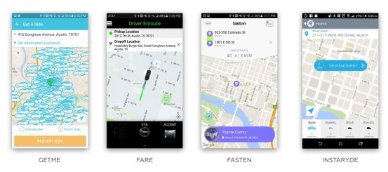 All of the different Austin Rideshare Apps UI's (courtesy of Greta @ Evercar)
