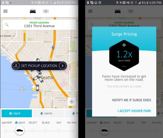 Uber New Upfront Pricing Still Shows Surge In Seattle