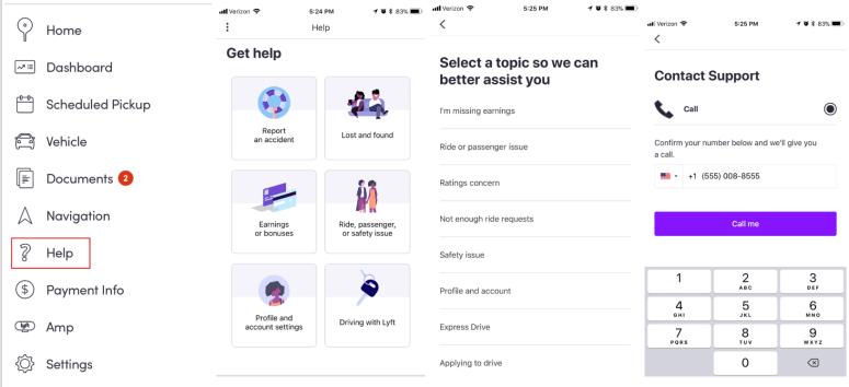 Lyft's in app support