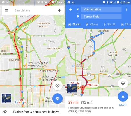 Google Maps default view and route preview