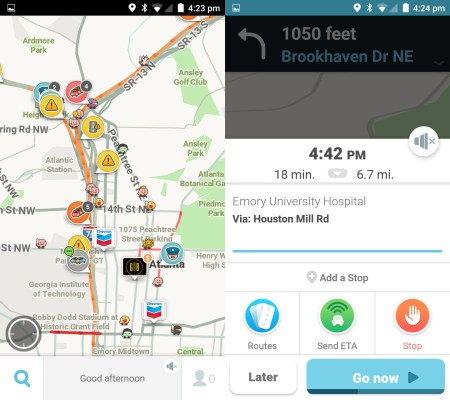 Waze default map view and route preview screens