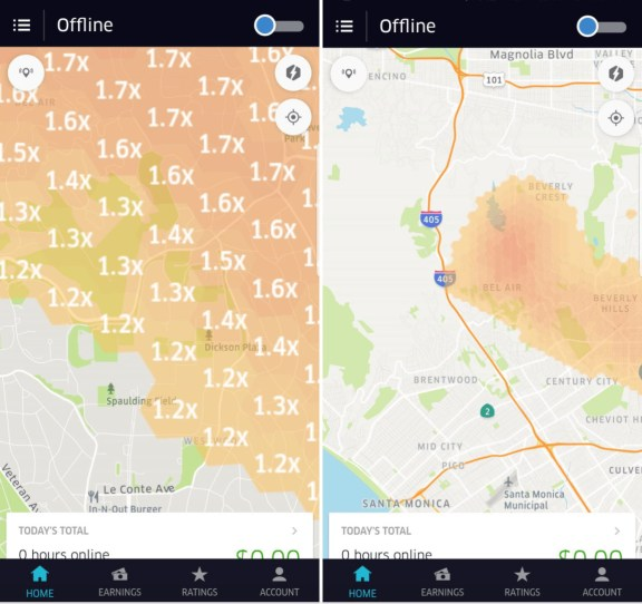 New Surge Map in Redesigned Uber App