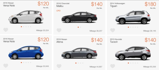 Car you can rent for Uber