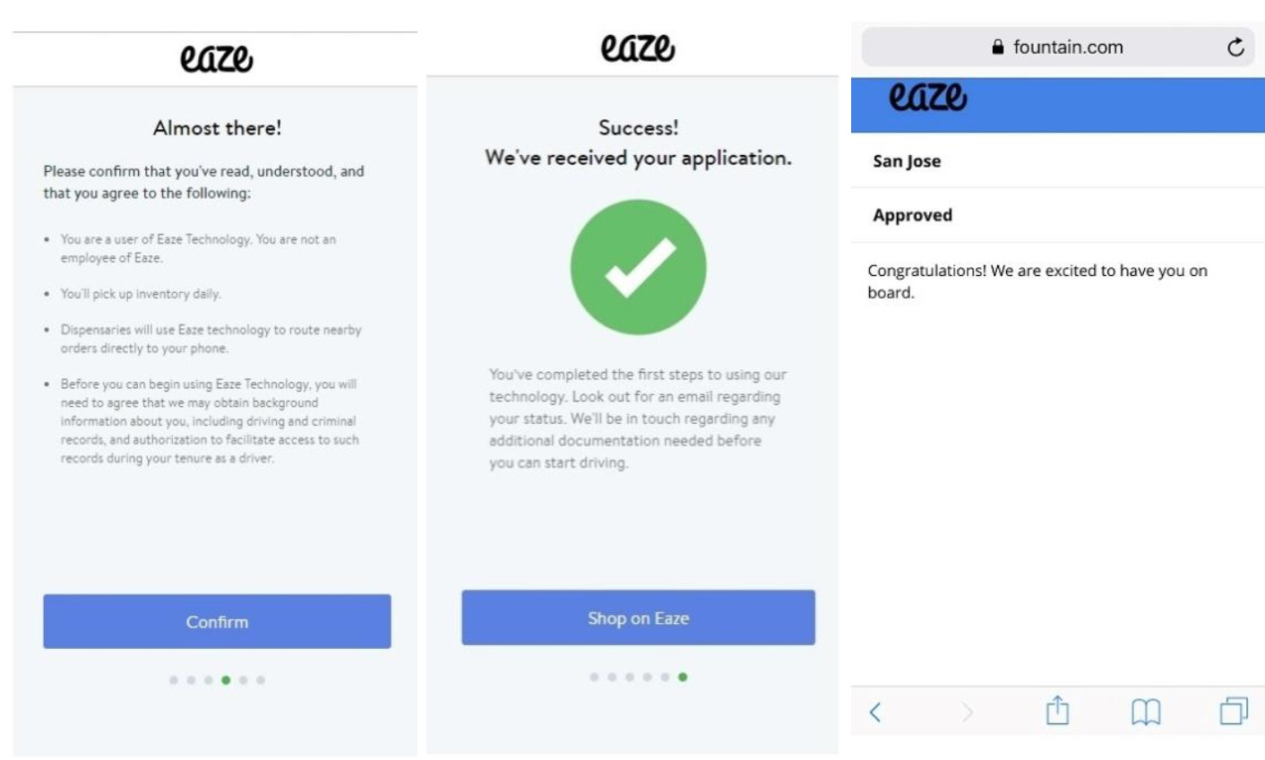 images of Finally completed the eaze sign up process!