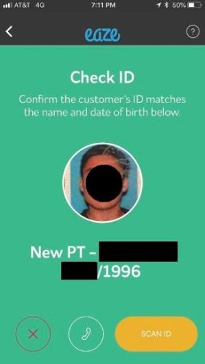 image of Confirming customer's ID with eaze
