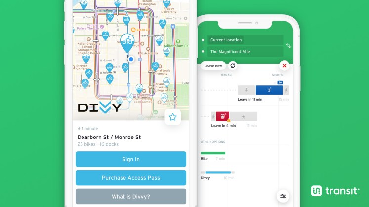 image of Unlocking a Divvy shared bike and trip planning in the Transit app (Chicago)