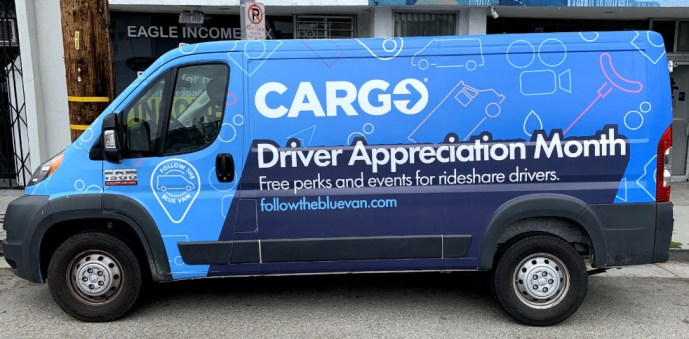 image of The Cargo driver appreciation van on the road
