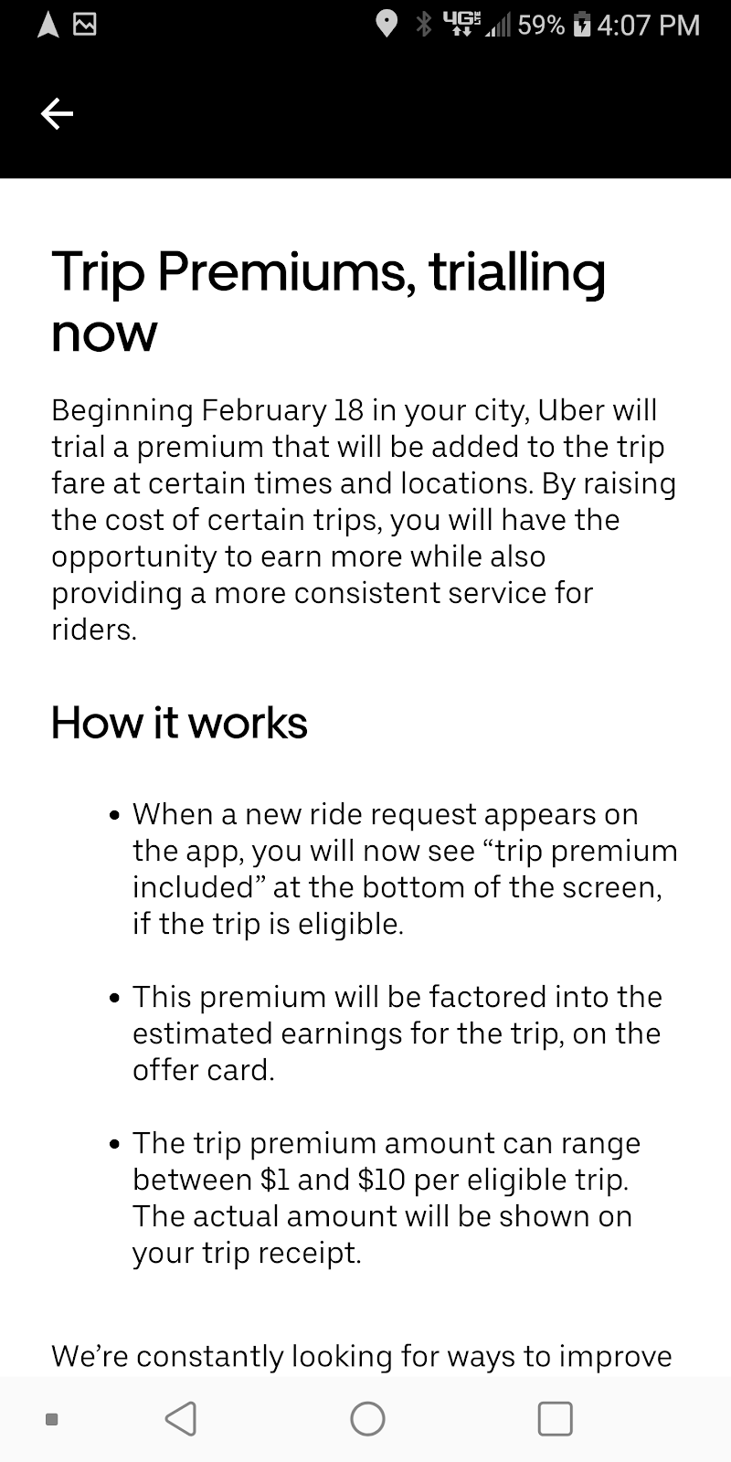 uber trip premiums