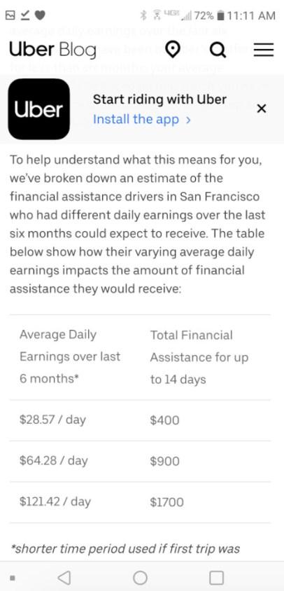 uber driver coronavirus compensation