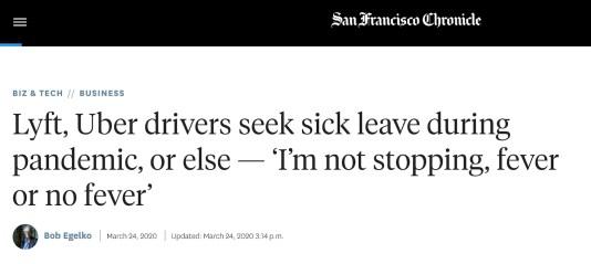 Uber, Lyft drivers need sick pay