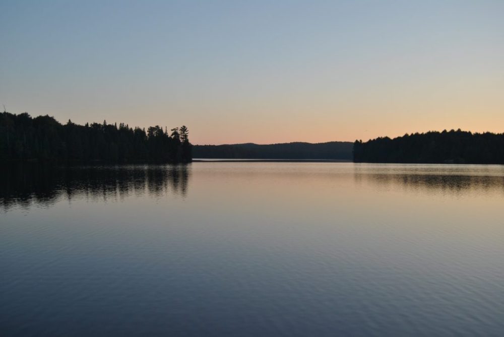 Three Mile Lake campsite on a 5 day canoe trip in Algonquin Park