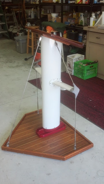 We'll Even Make You a Custom Sailboat Mast Hostess Stand. Wood Finishes by Boat Shine. Woodwork by Stem to Stern Yacht Service. Visit the Eastport Yacht Club for a Closer Look!....it even has spreader lights