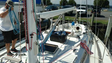 Completely Serviced Harken Pole Control System. New Ball Bearings and Aluminum Ends for the Harken Pole Car. New Blocks and New Cleats. Swan 431