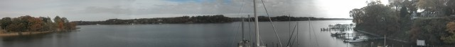 Panorama of Severn River form sherwood Forest Community. Sailboat Mast