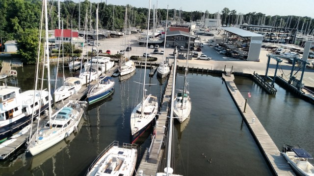 BERT JABIN'S YACHT YARD FROM ALOFT. THE BEST AMRINA ON THE EAST COAST!